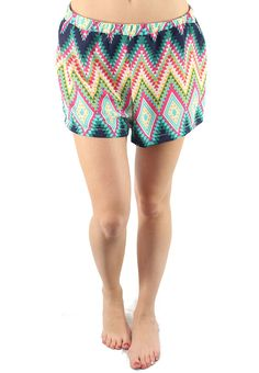 Fun breezy multi colored geometric diamond printed shorts. looks great with wedges and sandals. #wholesaleclothing #wholesalefashion