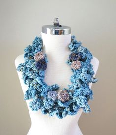 Blue Beach Stone Scarf, Ocean Waves scarf, 2 scarfs shown together can also be used separately,  Infinity Accent Scarf, perfect any season by ValerieBaberDesigns on Etsy