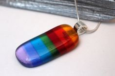 Rainbow fused glass necklace - glass pendant - multicolour elegant jewellery - silver plated chain and bail - multicolor jewelry - UK maker
