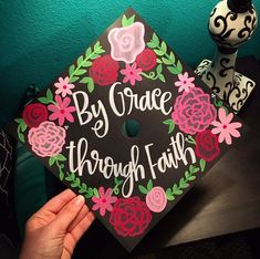 Custom Grad cap ideas | Graduation cap topper with flowers | Crafty cute grad caps