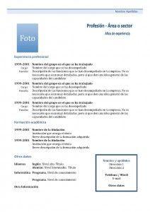 Plantillas de Currículum Vitae cronológico: Modelo 1