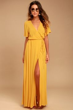 We're forever grateful we found the Much Obliged Golden Yellow Wrap Maxi Dress! Gauzy woven rayon drapes into a sultry surplice bodice framed by fluttering short sleeves. Wrapping maxi skirt secures via hidden internal ties and an adjustable waist tie. Short Beach Dresses, Trendy Dresses, Sexy Dresses, Casual Dresses, Summer Dresses, Autumn Dresses, Vacation Dresses, Long Dresses, Yellow Maxi Dress