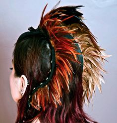 Mohawk feather head piece Leather Feather Head by Renegadeicon