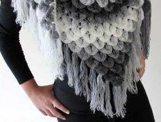 Etsy'sbonitapatternssells the pattern for this beautiful crocodile stitch crochet shawl.
