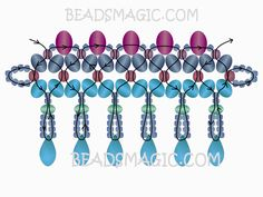 Free pattern for beaded necklace Real Blue | Beads Magic-2 --- U need Rondelle Beads, 10 mm, 8mm, 4 mm, Faceted round Beads 4 mm+ 3 mm, Faceted Drops, Seed Beads11/0