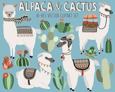 Cactus y gráfico de Llama - Alpaca Adorable y desierto Vector Clip Art Set - elementos de diseño Digital con patrones tribales únicos