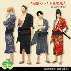 Japanese Male Half Hakama Costume for The Sims 4
