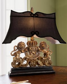 Lion Crest Lamp at Neiman Marcus. (I would SO get this for my husband's office....it's so ridiculous, but I love it.  ~Vanessa N. Moylan)