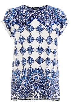 All | Blue PLACEMENT TILE PRINT TOP | Warehouse