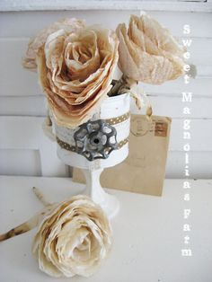 Sweet Magnolias Farm Original Design .. Upcycled Can on Pedestal with old faucet handle