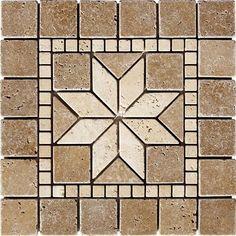 12'' X 12'' Flower Noche Tumbled Medallion Tile Travertine Mosaic Wall Floor Art