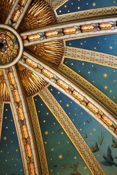 Victorian castle ceiling inspired by medieval paintings which actually used ground lapis lazuli for the blue pigment/ color. Gorgeous! ~cwm Copyright by A n z u: Blue and gold
