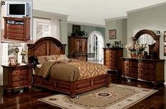 Tobacco Oak Solid Wood Bellagrand Eastern King Bedroom Set