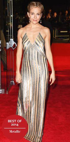 Look of the Day - December 30, 2014 - Sienna Miller in Galvan from #InStyle #metallic #dress