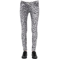 Freddy Women Leopard Printed Wr.up Leggings (1 230 ZAR) ❤ liked on Polyvore featuring pants, leggings, stretchy pants, stretch pants, skinny leggings, leopard print leggings and white stretch pants