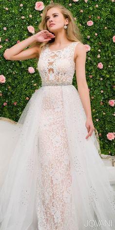 Jovani Embellished Lace Tulle Overlay Prom Dress