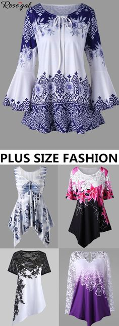 Up to 55% off. Free shipping worldwide.Plus size fashion outfits for women.#plussize#plussizefashion#womens#tshirt#blouse#fashion#floral#summer#spring#rosegal