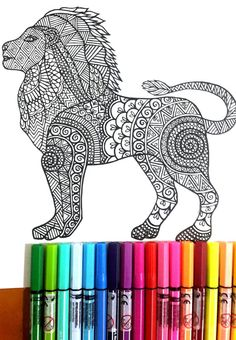 Lion Colouring Page for grown ups, perfect for those who like coloring pages and more complex work with many colors. Its color therapy! Design