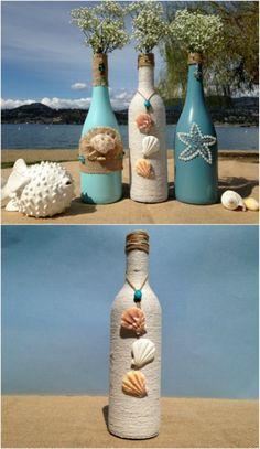 Painted Wine Bottle Vases