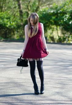 The Burgundy Dress With Suspender Style Tights (Dress – Exact, Tights – Exact, Shoes – Similar, Bag – Exact, Watch – Exact) This outfit is...