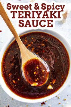 Chicken Stir Fry Sauce, Chicken Wing Sauces, Chicken Sauce Recipes, Chicken Teriyaki Recipe, Homemade Teriyaki Sauce, Homemade Sauce, Sauce For Chicken Wings, Roast Chicken, Spicy Stir Fry Sauce