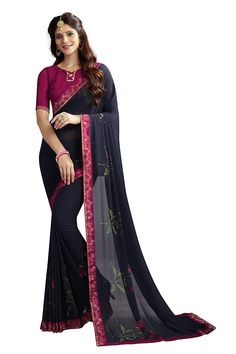 ad84ec04fd Colour: Blue Fabric : Saree – georgette saree, Banglori Silk Blouse Saree-  Mtr Mtr There Might Be Minor Colour Variation Between Actual Product And  Image…