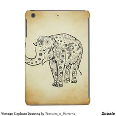 Vintage Elephant Drawing iPad Mini Retina Covers  #vintage #drawing #elephant #retro #sketch #cute #girly #floral #whimsical #hipster #chic #ornate #cute #floral #iphonecase