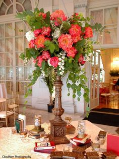 coral white peony centerpiece