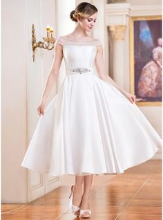 A-Line/Princess Off-the-Shoulder Tea-Length Satin Wedding Dress With Beading Sequins