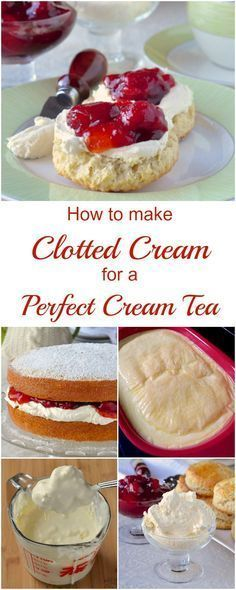 How to make Clotted Cream for the Perfect Cream Tea - it takes very little effort and really just time to make thick, rich, velvety cream perfect for slathering on fresh scones with your favourite jam. (how to make cake filling recipes) Just Desserts, Dessert Recipes, Tea Party Desserts, Tea Party Recipes, Baking Desserts, Health Desserts, Food For Tea Party, Tea Time Recipes, Tea Party Foods