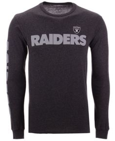 Authentic Nfl Apparel Men s Oakland Raiders Streak Route Long Sleeve T-Shirt  - Gray S 3a5a03585