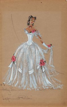 """Leah Rhodes costume sketch for Hedy Lamarr in """"Experiment Perilous"""" This 13 in. x 20 ½ in. costume sketch of Hedy Lamarr in a rose blossom embellished hoop skirt and period hair, cameo and gloves is accomplished with gouache on gray construction paper. Fashion Art, Vintage Fashion, Fashion Design, Costume Design Sketch, Hollywood Costume, Hollywood Fashion, Theatre Costumes, Movie Costumes, Fashion Illustration Vintage"""