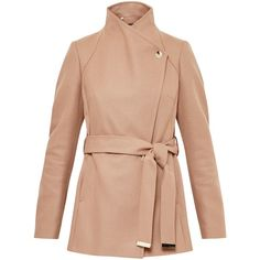 Ted Baker Short Wrap Collar Coat, Camel featuring polyvore, women's fashion, clothing, outerwear, coats, coats & jackets, funnel-neck coats, funnel collar coat, collar coat, ted baker coat and leather-sleeve coats