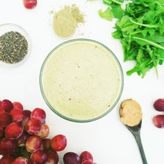 Peanut Butter and Jelly Protein Smoothie - made with frozen grapes and vegan protein. Yum!