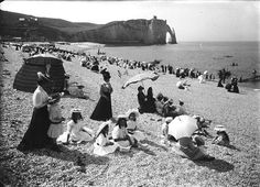 Séeberger -The beach at Étretat , France 1901.