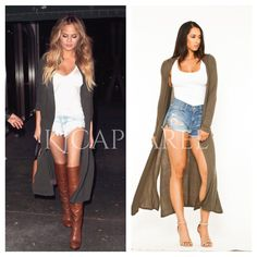 Love this look. Long sheer cardigan paired with boots and shorts KJCAPPAREL™ KJCOUTURE™