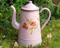 Vintage Dutch enamelware chocolate kettle with winterscene. Only the kettle is for sale. Small Farm, Very Lovely, Watering Can, Winter Scenes, Windmill, See Photo, French Antiques, Kettle, Pretty In Pink