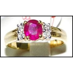 Ruby 18K Yellow Gold Diamond Genuine Solitaire Ring by BKGjewels
