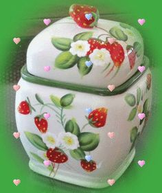 Harry & David Hand Painted Strawberry Glazed Pottery Container Canister with lid Strawberry Kitchen, Strawberry Glaze, Strawberry Patch, Strawberry Fields, Strawberry Recipes, Strawberry Shortcake, Strawberry Hill, Red Kitchen Decor, Kitchen Themes