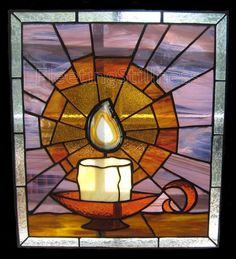 PDF Pattern for Stained Glass - Candle and Flame - FleetingStillness Original Design Stained Glass Designs, Stained Glass Panels, Stained Glass Projects, Stained Glass Patterns, Leaded Glass, Stained Glass Art, Mosaic Glass, Fused Glass, Mosaic Projects