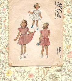 1940s Girls DRESS  Vintage Sewing Pattern  by CottageontheBluff