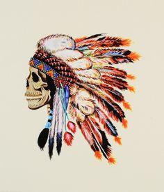 American Indian headdress on skull.
