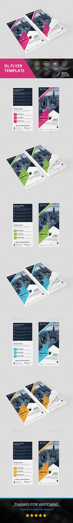 DL Flyer by DesignsTemplate This is Corporate DL Flyer . This template download contains 300 dpi print-ready CMYK psd files. All main elements are editable an
