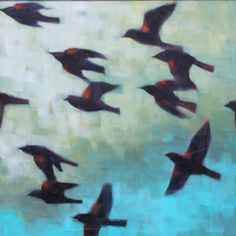 Connie Geerts,  Flying Together,  Acrylic on Canvas  24 X 24 in.