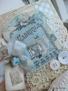 <3 lovely shabby chic sewing spool card and matching embellished envelope gift set decoration stationary <3