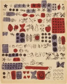 Stars, Hearts, Butterflies, Fruits And Birds (Wrapping Paper I), Andy Warhol, Circa 1959 #andywarhol