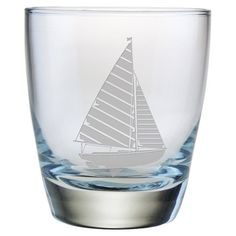 Enjoy an after-dinner cocktail with this nautical-themed highball glass, showcasing a sand-etched sailboat motif.  Product: Set ...