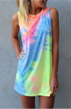 Multicolor Colorful Print Sleeveless Round Neck Cotton Mini Dress - Mini Dresses - Dresses