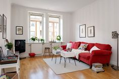 Architecture, Scandinavian Living Room Apartment Design With Red Griffin Charcoal Sofa Varnish Laminate Wooden Floor Tiles White Carpet Tiles And Tv Stand Ideas ~ Colorful Apartment in Gothenburg Red Couch Living Room, Sofa Living, Simple Living Room Decor, Living Room Furniture, Grey And Red Living Room, Furniture Decor, Living Rooms, Furniture Layout, Kitchen Furniture