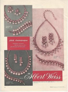 1955 Albert Weiss jewelry ad 'Pink Champagne'
